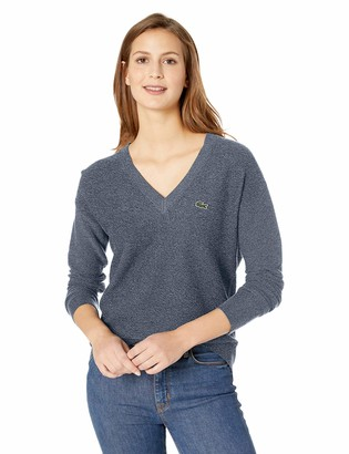 Lacoste Womens Long Sleeve Cotton V-Neck Sweater Sweater