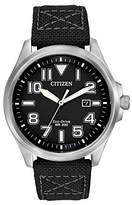 Citizen Men's Quartz Watch with Black Dial Analogue Display and Black Fabric Strap AW1410-08E