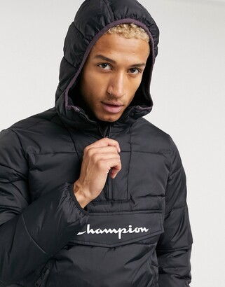 Champion padded pullover jacket in black
