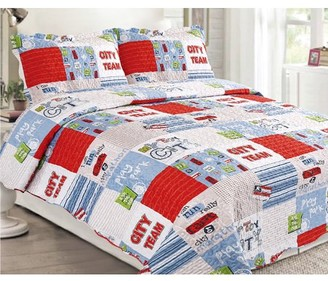 Online 3-Piece Cottage Patchwork Microfiber Bedspread Quilt Set (King)