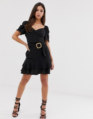 Asos Design DESIGN wrap front mini dress with belt-Black