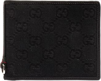 Gucci Black GG Canvas Web Bi-Fold Wallet