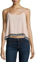 T-Bags LosAngeles T Bags Fringe-Trimmed Tank Top, Dusty Rose