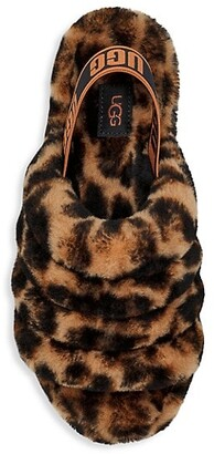 UGG Fluff Yeah Panther-Print Sheepskin Slingback Slippers