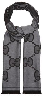 Gucci Fringed Gg-jacquard Wool Scarf - Grey