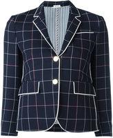 Thom Browne checked cropped blazer - women - Silk/Cotton/Wool - 42
