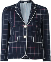 Thom Browne checked cropped blazer - women - Wool/Cotton/Silk - 42