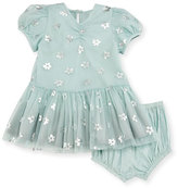 Stella McCartney Missy Metallic Daisy Tulle Dress w/ Bloomers, Blue, Size 12-24 Months