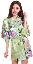 Honeystore Women's Japanese Kimono Silk Short Robe Peacock Nightgown Sleepwear S