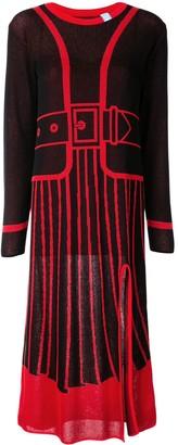 Maison Mihara Yasuhiro Intarsia Knit Long-Sleeved Dress