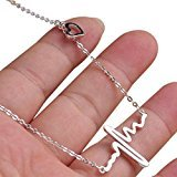 Bestpriceam New Women EKG Necklace Heartbeat Rhythm with Love Heart Shaped (Silver)