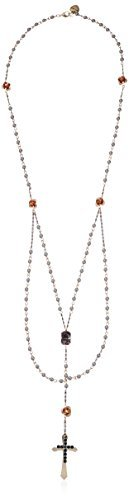 """Betsey Johnson Throwback"""" Cross & Stone Rosary Long Y-Shaped Necklace, 31"""""""