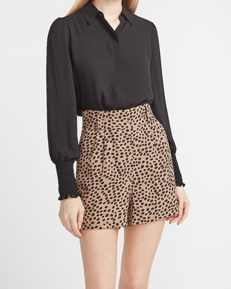 Express Super High Waisted Leopard Print Linen-Blend Shorts