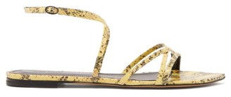 Isabel Marant Apopee Python-effect Leather Sandals - Womens - Yellow