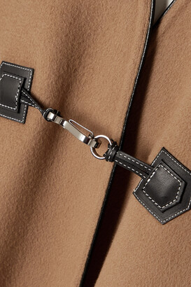 Totême Leather-trimmed Brushed Wool And Cashmere-blend Coat - Brown