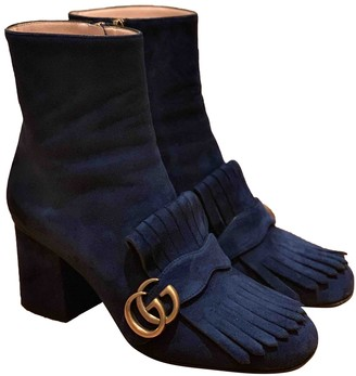 Gucci Marmont Navy Suede Ankle boots