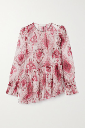 Zimmermann Asymmetric Ruffled Printed Silk-crepon Blouse - Magenta