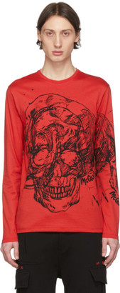Alexander McQueen Red Etched Skull T-Shirt