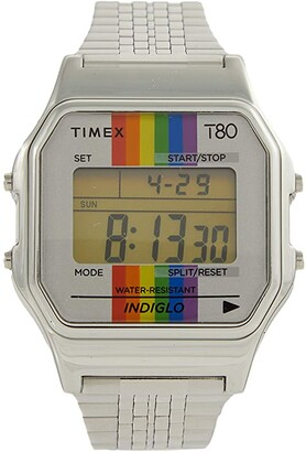 Timex T80 Pride 34 mm Digital Case Rainbow Dial Bracelet (Silver/Silver/Silver) Watches