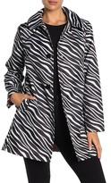 Kate Spade zebra print water-resistant hooded snap rain jacket