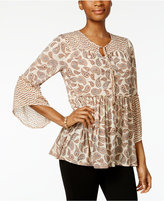 Style&Co. Style & Co Petite Printed Mixed-Print Peasant Top, Only at Macy's