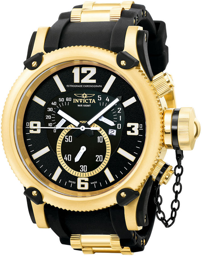 Invicta Watch, Men's Chronograph Russian Diver Gold-Tone Stainless Steel and Black Polyurethane Strap 52mm 5670