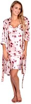 Patricia from Paris Women's Satin Kimono Robe Wrap and Cami Slip Floral Print PJ Set