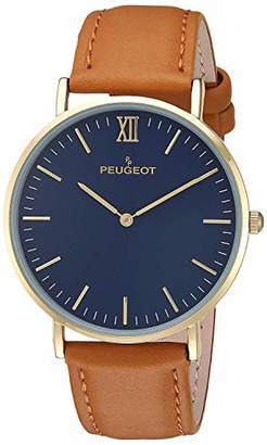 Peugeot Peugeo Super Slim 14K Gold Plated Round Dress Wrist Watch with Adjustable Sheffield Leather Band