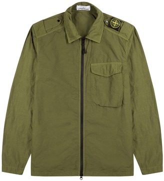 Stone Island Army Green Garment-dyed Shell Overshirt