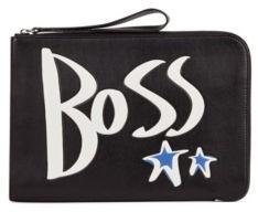 HUGO BOSS Leather Portfolio Case With Hand Drawn Logo - Black