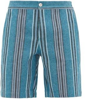 P. Le Moult - Low Cut Striped Cotton Canvas Shorts - Mens - Blue Multi
