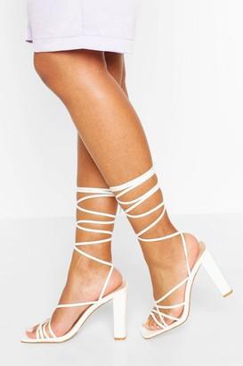 boohoo Strappy Ankle Tie Block Heels