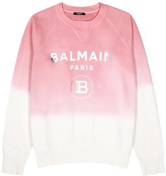 Balmain Pink degrade logo cotton sweatshirt