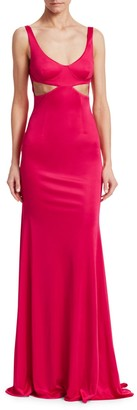 Roberto Cavalli Cut Out Jersey Column Gown