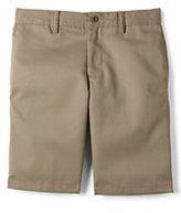 Lands' End Boys Husky Cotton Plain Front Chino Shorts-Khaki