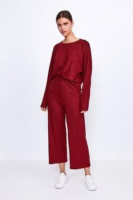 Karen Millen Ribbed Jersey Lounge Wide Leg Trouser