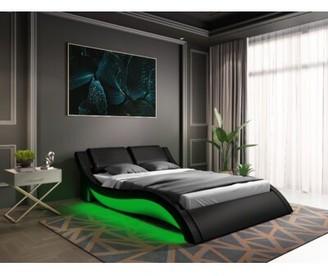 Orren Ellis Lafever Upholstered Sleigh Bed Color: Black, Size: King