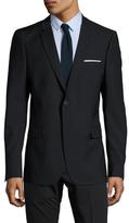 The Kooples Wool Navy Solid Notch Lapel Sportcoat