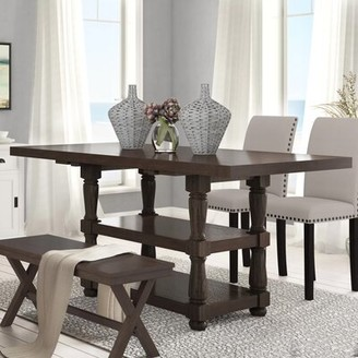 Laurèl Fortunat Counter Height Extendable Dining Table Foundry Modern Farmhouse Color: Espresso
