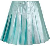 Miu Miu Pleated Metallic Leather Mini Skirt - Turquoise