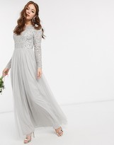 Maya Bridesmaid long sleeve v back maxi tulle dress with tonal delicate sequin in silver