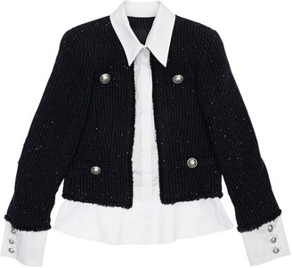 Balmain Wool Boucle & Cotton Poplin Blend Jacket