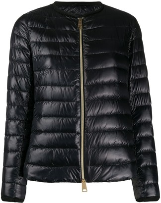 Herno Collarless High-Shine Quilted-Down Jacket