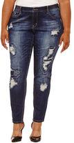 Boutique + + 31 Embellished Pocket Skinny Fit Jeans-Plus