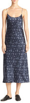 Vince Calico Floral Silk Satin Midi-Length Slip Dress, Navy