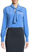 Diane von Furstenberg High Neck Long-Sleeve Silk Bow Blouse