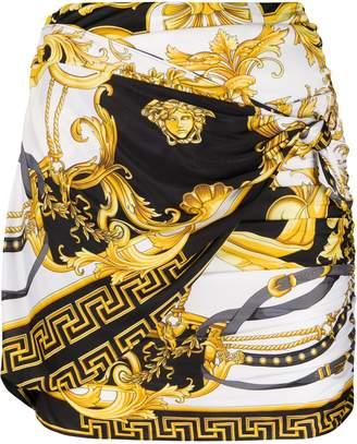 Versace Barocco print gathered skirt