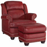 Asstd National Brand Winston Chair Ottoman Faux Leather Roll-Arm Chair