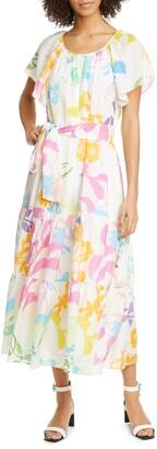 Tanya Taylor Floral Silk & Cotton Blend Dress