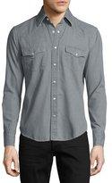 Tom Ford Western Pearl-Snap Denim Shirt, Gray